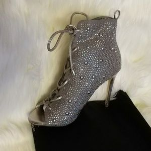 Shoes - Silver Rhinestone Heels